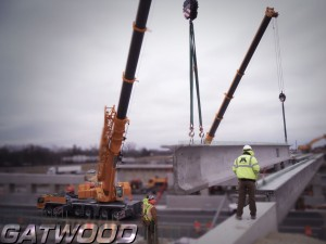 Two of our largest cranes work on this new road development